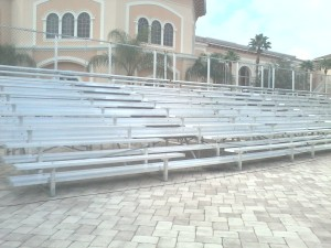 10-row bleachers with center aisle