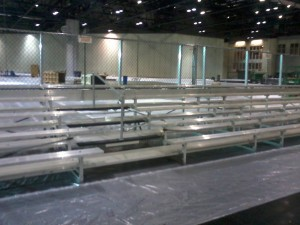 5-row bleachers with center aisle