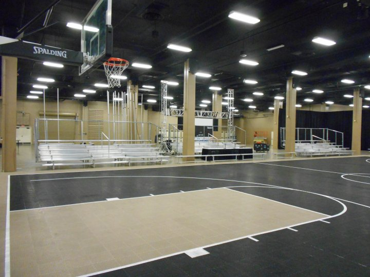 indoor bleacher seating for basketball event