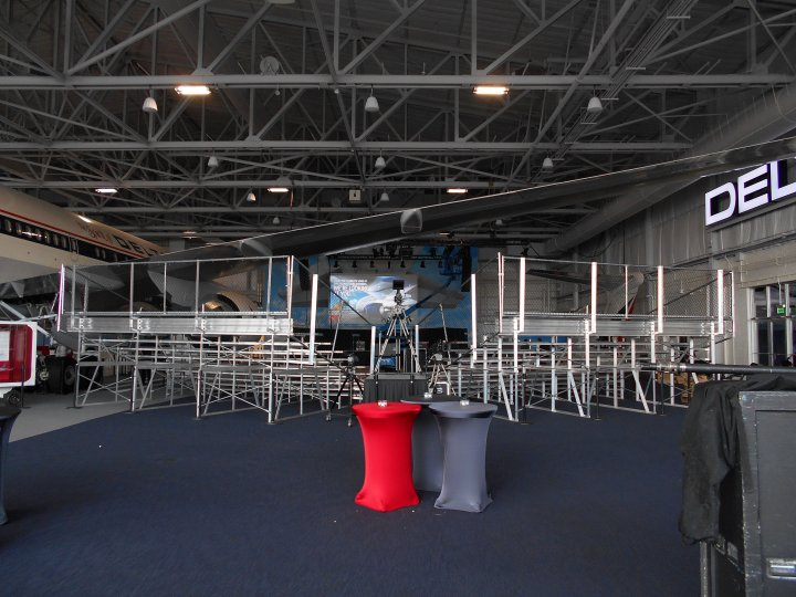Bleacher Seating in Airplane Hanger